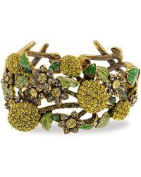 Heidi Daus A Lot Of Lemons Crystal Floral Cuff Bracelet - Metallic