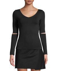 Helmut Lang - Cut-out Long-sleeve Top - Lyst
