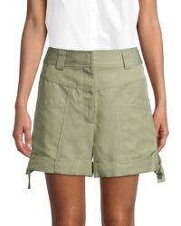Rebecca Taylor Twill High-rise Shorts - Green