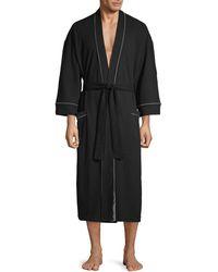 Saks Fifth Avenue Waffle Knit Robe - Black