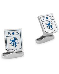 Ermenegildo Zegna Men's Sterling Silver & Enamel Lion Logo Shield Cufflinks - Metallic