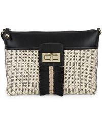 Karl Lagerfeld Logo Straw Crossbody Bag - Black