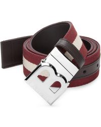 Bally - B-buckle Leather & Fabric Belt - Lyst