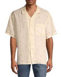 Madewell Floral Short-sleeve Linen Shirt - White