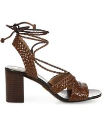 Michael Kors Lawson Ankle-wrap Woven Leather Sandals - White
