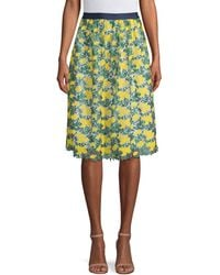 Draper James Embroidered Floral A-line Skirt - Yellow