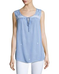 B Collection By Bobeau - Embroidered Crepe Top - Lyst
