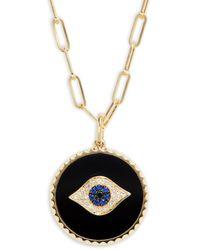 Effy Women's 14k Yellow Gold, Sapphire, Onyx & Diamond Pendant Necklace - Metallic