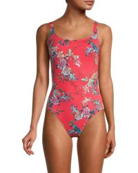 Johnny Was Women's Malakye Floral-print One-piece Swimsuit - Size S - Red