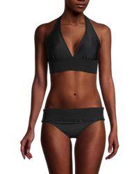 Tommy Hilfiger Women's Smocked Halter Bikini Top - Black - Size Xl