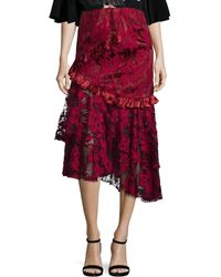 Romance Was Born Queen Of The Night Magnolia Lace Skirt - Red