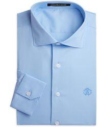 Roberto Cavalli Stretch Cotton Dress Shirt - Blue