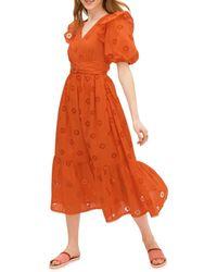 Kate Spade Women's Spade Clover Eyelet Dress - Tamarillo - Size 12 - Orange