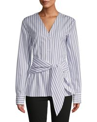 Tibi Striped Belted Cotton Top - Blue