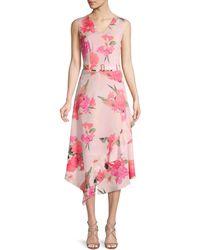 Calvin Klein Floral Belted Fit-&-flare Dress - Pink