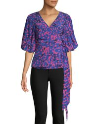Tracy Reese - Silk-blend Wrap Blouse - Lyst