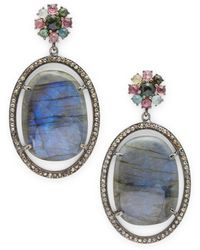 Bavna - Tourmaline, Labradorite & Sterling Silver Drop Earrings - Lyst