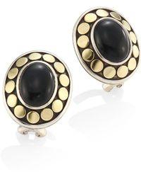 John Hardy - Dot Oval Black Onyx & 18k Yellow Gold Stud Earrings - Lyst