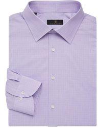 Ike Behar Men's Regular-fit Glen Plaid Dress Shirt - Purple - Size 16