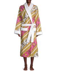 Versace Baroque-print Cotton Bath Robe - Pink Multi - Size Xxxl