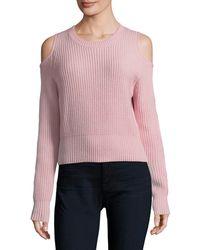 Zoe Jordan Galen Cold Shoulder Crop Sweater - Pink