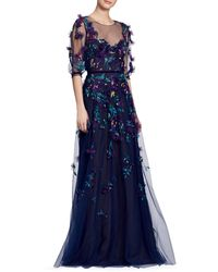Marchesa Illusion Floral Applique Overlay Gown - Blue