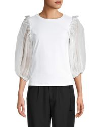 Lea & Viola Women's Tulle Puff-sleeve Top - White - Size Xs