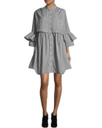 French Connection - Pleated Bell-sleeve Shirtdress - Lyst