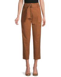 A.L.C. Women's Diego Belted Cropped Pants - Deep Mocha - Size 0 - Brown
