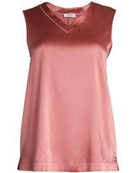 Peserico Stretch Silk Satin Sleeveless Top - Pink