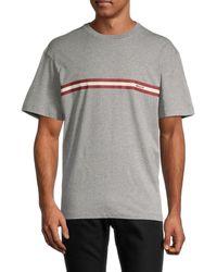 Bally Men's Logo Stripe T-shirt - Grey - Size M