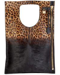 Tom Ford Ombré Leopard Calf Hair Top Handle Bag - Black