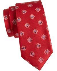 Canali Men's Floral Medallion Silk Tie - Red