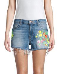 7 For All Mankind Cut - Off Floral - Embroidered Denim Shorts In Vintage Parker - Blue