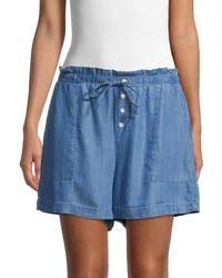 Saks Fifth Avenue Women's Drawstring Chambray Shorts - Medium Indigo - Size Xl - Blue