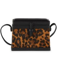 Hunting Season Women's Mini Square Trunk Suede & Leather Box Bag - Leopard - Brown