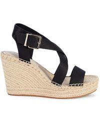 Kenneth Cole Women's Owen Cross Leather Espadrille Wedge Sandals - Black - Size 9