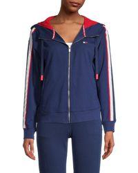 Tommy Hilfiger Women's Drop Shoulder Zip Jacket - Black - Size M - Blue