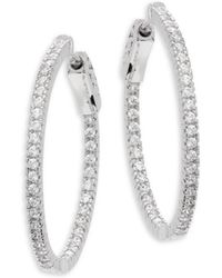 "CZ by Kenneth Jay Lane - Cubic Zirconia Inside Out Hoop Earrings/1"" - Lyst"