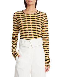 Proenza Schouler Women's Tie-dye Stripe T-shirt - Bleached Marigold - Size Xs - Multicolour