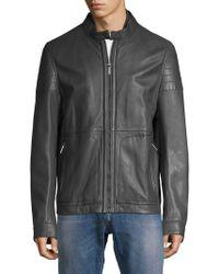 BOSS - Gavus Leather Moto Jacket - Lyst