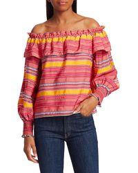 Parker Karen Off-the-shoulder Ruffle Striped Top - Multicolour
