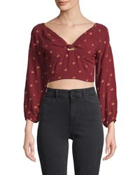 Raga Women's Leaf-print Knotted Cropped Top - Wine - Size Xs - Red