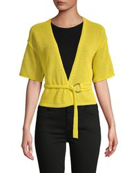 Free People Textured Cotton-blend Belted Cardigan - Yellow