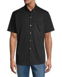 Karl Lagerfeld Men's Print-pocket Short-sleeve Shirt - Black - Size Xl