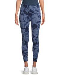 Bagatelle Women's Seamless Tie-dyed Leggings - Blue Tie Dye - Size M