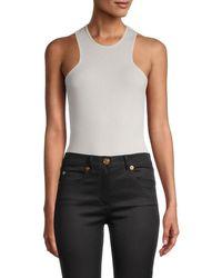David Lerner Women's Penny Ribbed Bodysuit - Oatmeal - Size L - Blue