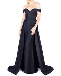 Mac Duggal Women's Off-the-shoulder Lace Evening Gown - Navy - Size 0 - Blue