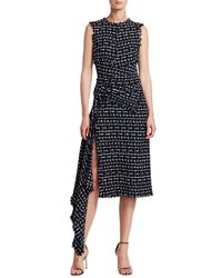 Oscar de la Renta Sleeveless Asymmetric Knit Dress - Blue