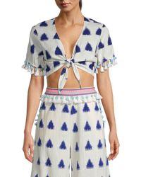 Tessora Women's Lydia Tassel Crop Top - Playa Print - Size S - Blue